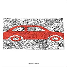 Vipsung Microfiber Ultra Soft Bath Towel Cartoon Little Car With Travel Themed Passport Stamps Background Abstract Design Red Black And White For Hotel Spa Beach Pool Bath