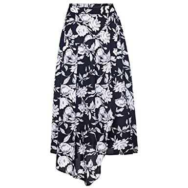 75cb8911ee Women's Floral Pleated Boho A Line Midi Skirt Front Slit at Amazon ...