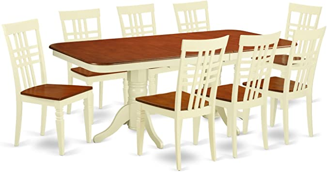Amazon.com: NALG9-BMK-W 9 PC Kitchen Table set with a ...