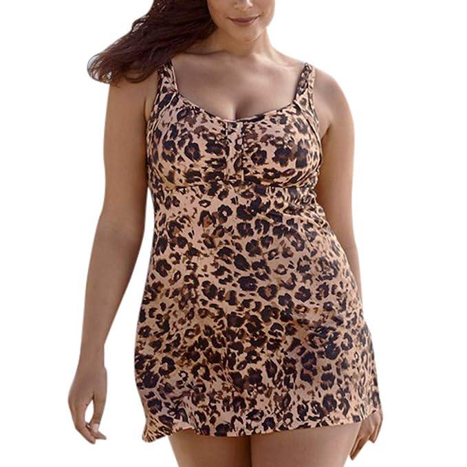 070f6fbdb1 Women Swimwear Leopard Print Loose Bikini Tankini Beachwear Bathing  Monokini Swimsuit Plus Size by FAPIZI at Amazon Women s Clothing store