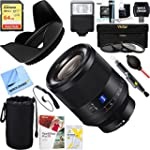 Sony SEL50F14Z Zeiss Prime Full Frame Planar T FE 50mm F1 4 ZA Lens + 64GB Ultimate Filter & Flash Photography Bundle