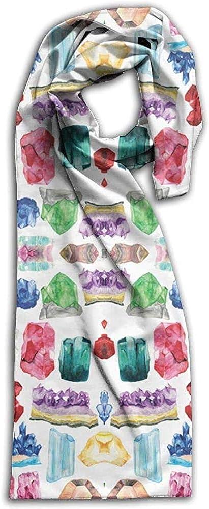 Not Applicable Bufanda Unisex,Patrón De Piedras De Nacimiento De Piedras Preciosas De Acuarela Bufandas De Mantón De Mujer Para Montar A Caballo,28x180cm