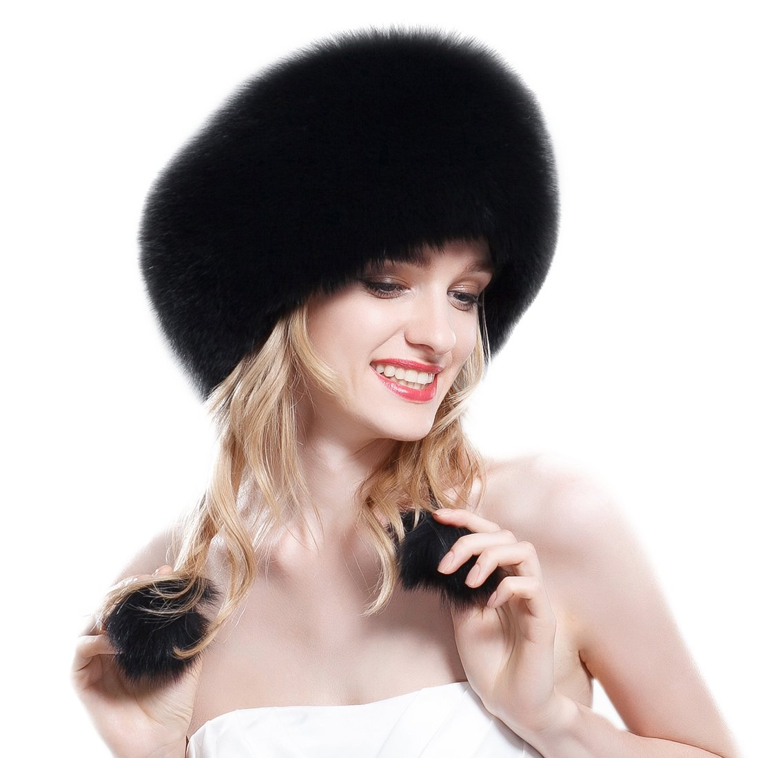 URSFUR Black Fox Fur Roller Hat with Leather Top Natural Color by URSFUR