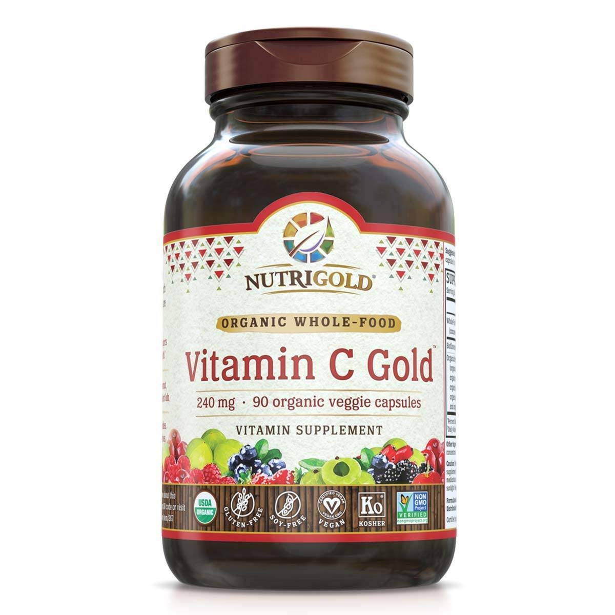 NutriGold Organic Whole-Food Vitamin C 240 mg 90 plantcaps