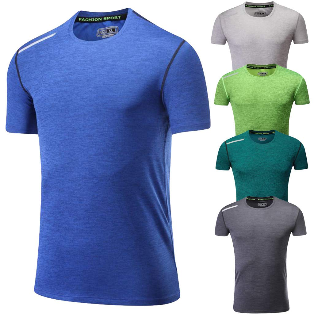 Gym T Shirt Men Donci Elastic Skinny Breathable Solid Color Fitness Basic Tees Round Collar Quick Dry Summer Running Tops
