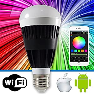 Lumen8 Wi-Fi 10W Multi-Colored Smart LED Light Bulb; Smartphone Controlled, Dimmable - Works with iPhone, Android Phone and Tablets (WF10WB)