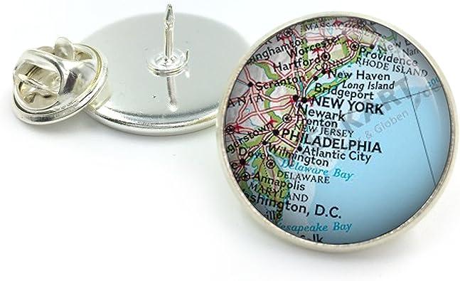 Butterfly N Beez Plateado Pin de Solapa de Mapa Personalizado ...