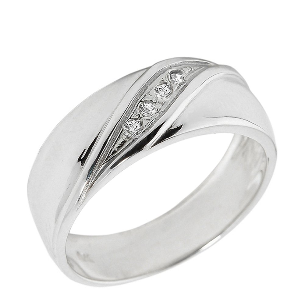 Men's 10k White Gold 4-Stone Diamond Wedding Band (Size 12.75)