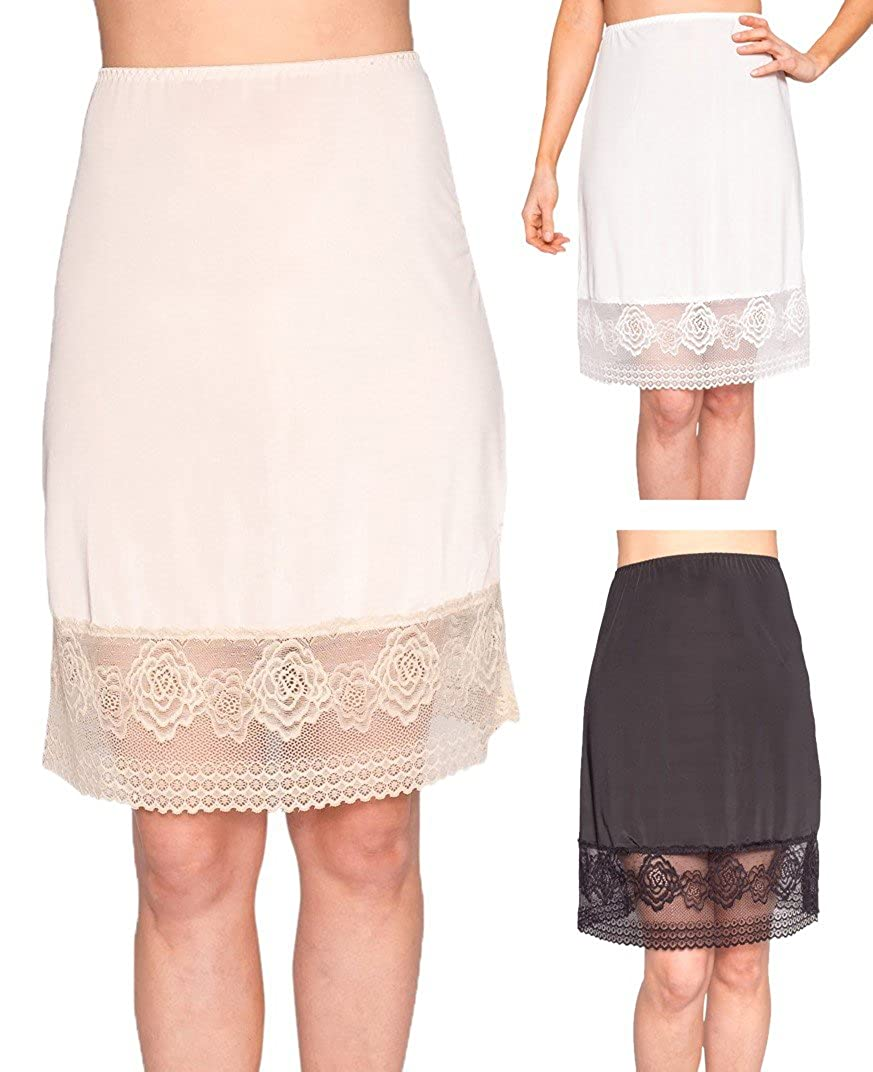 Free to Live 3 Pack Womens Knee Length Floral Lace Half Slips