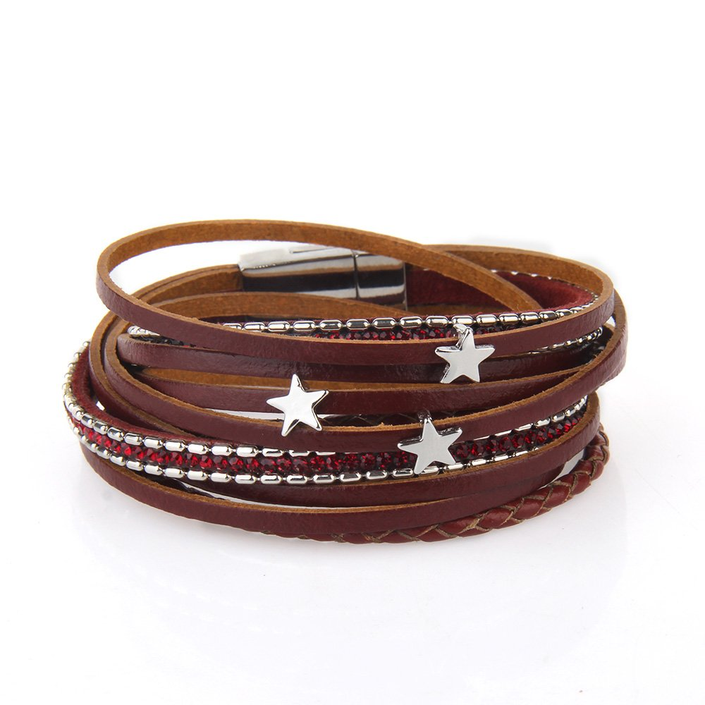Awegift Boho Bracelets Star Charm Top Layer Leather Wide Cuff Bangle for Women Christmas Jewelry Gifts for Her Red
