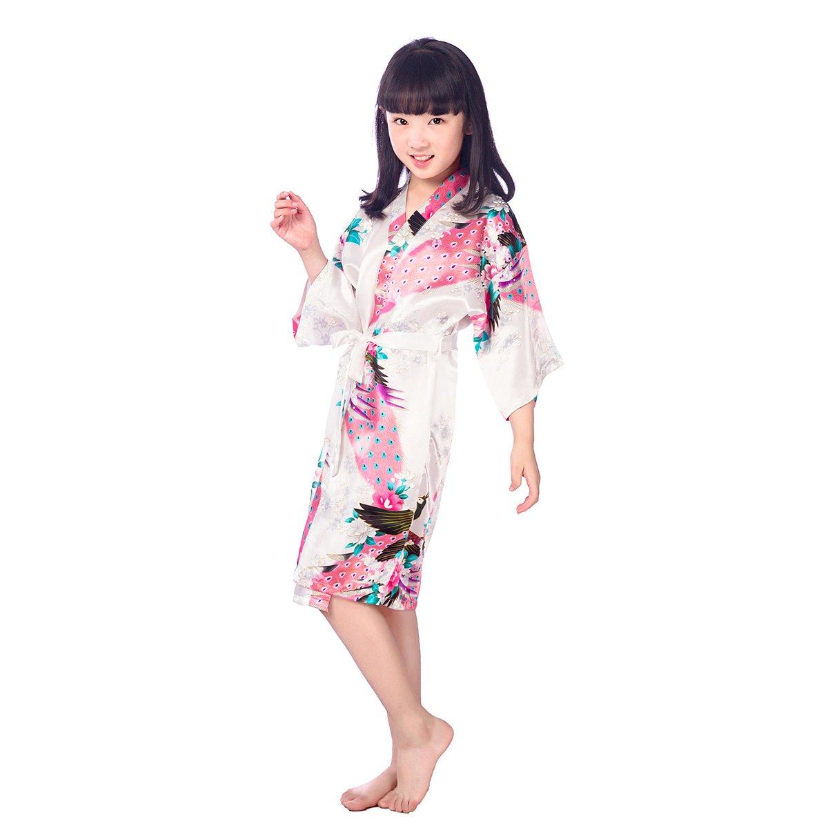 Size 10 LUOEM Kids Kimono Robe Spa Flower Pattern Bathrobe Nightgown for Party Birthday