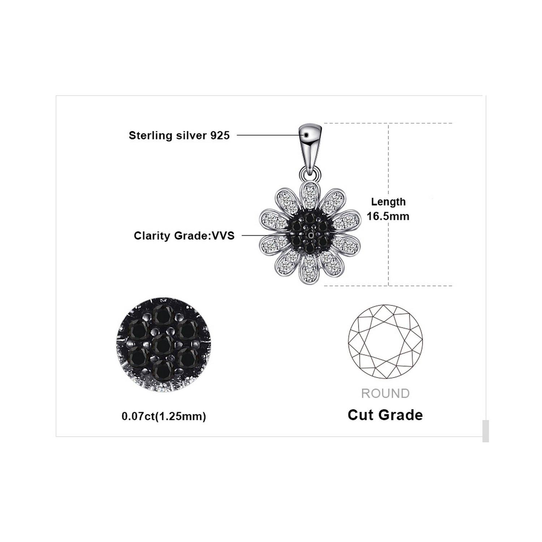 CS-DB Pendants Trendy Black Spinel Silver Necklaces