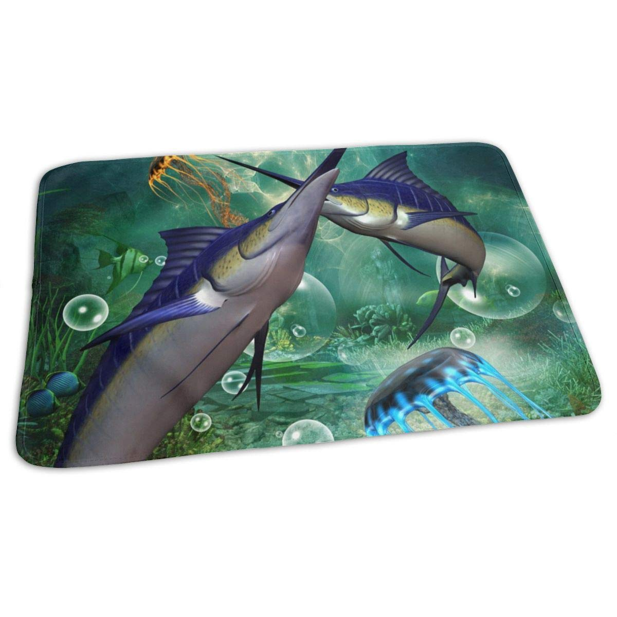 Osvbs Lovely Baby Reusable Waterproof Portable Beautiful Marlin 3D Rendering Changing Pad Home Travel 27.5''x19.7'' by Osvbs