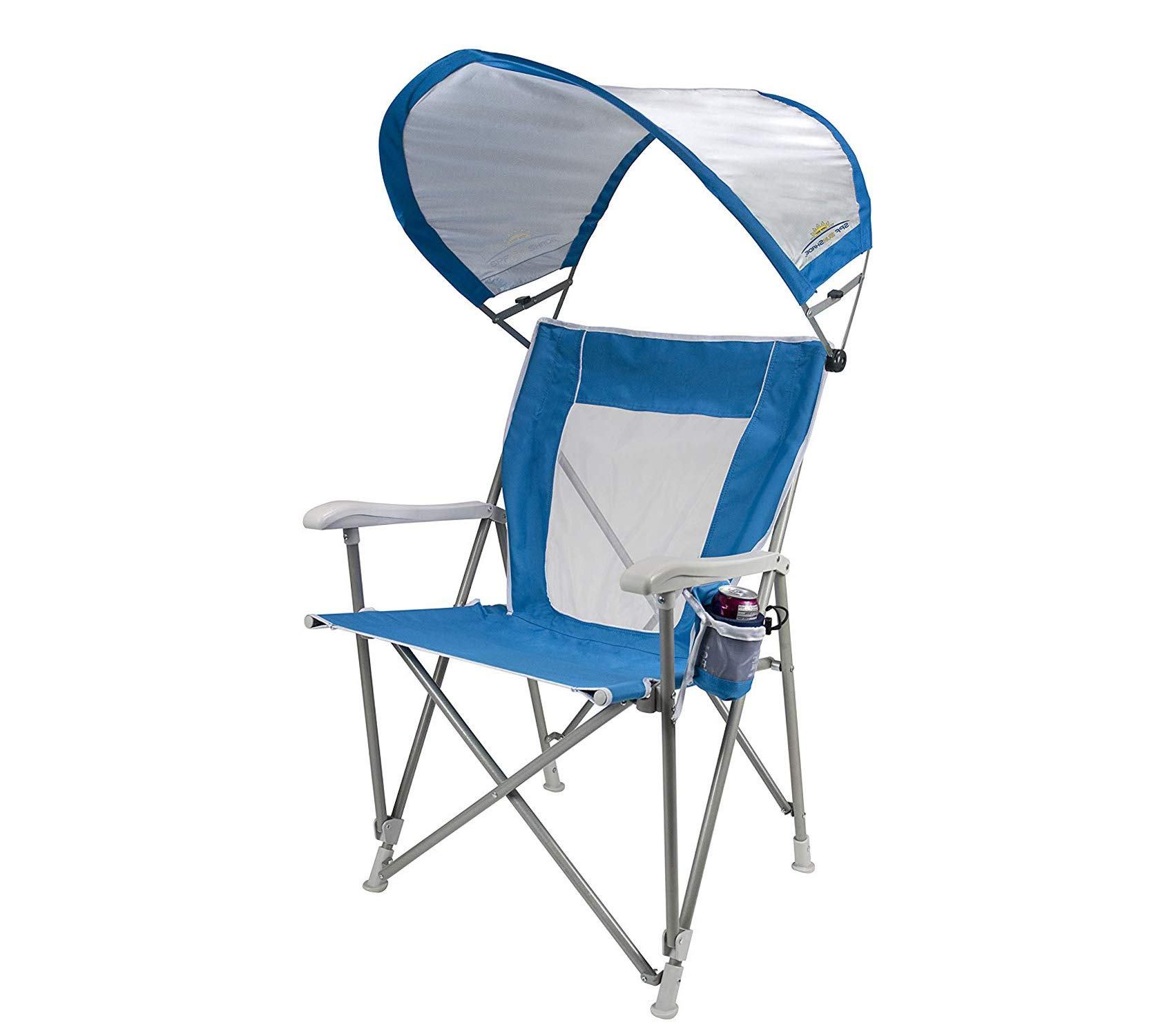 Wood & Style Patio Outdoor Garden Premium Waterside Sunshade Folding Captain's Beach Chair with Adjustable SPF Canopy