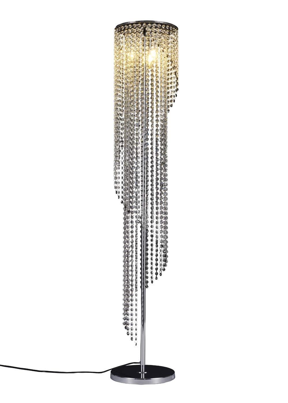 Surpars House Silver Crystal Floor Lamp S Shape Chrome Finish