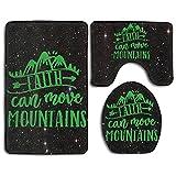 Faith Can Move Mountains Fashion Bath Mat Set Bathroom Carpet Rug Non-Slip 3 Piece Bath Mat Set