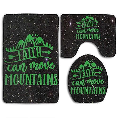 Faith Can Move Mountains Fashion Bath Mat Set Bathroom Carpet Rug Non-Slip 3 Piece Bath Mat Set by JYDPROV