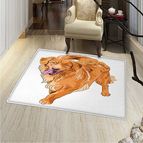 Golden Retriever Rugs Bedroom Playful Dog Running a Smiling Face Best Friend Companion Circle Rugs Living Room 4'x5' Orange Violet White 4' Golden Retriever Face