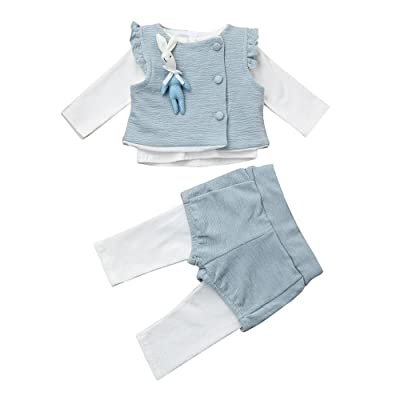 3pcs Baby Girls Clothes Ruffles T-shirt Tops+Bunny Vest+Long Pants Outfits Set