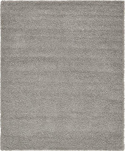Unique Loom Solo Solid Shag Collection Modern Plush Cloud Gray Area Rug (8' 0 x 10' 0) - Long Pile Plush