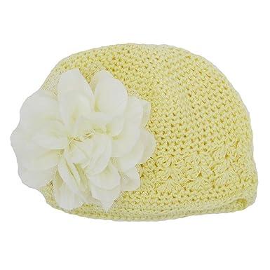 Felicy Bonnet Bébé Fille Garçon Bonnets Coton Crochet Papillons Chapeau  Unisexe Bébé Naissance Tricot Hat Cap Noël Cosplay pour 6mois-3ans (Beige)   ... cef483fe887