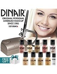 Dinair Airbrush Makeup Professional Kit | FAIR Shades | 10pc Make-up Set | Multi-Purpose for Foundation, Blush, Shimmer, Concealer, Eyeliner | Plus Shadow/Brow Stencils