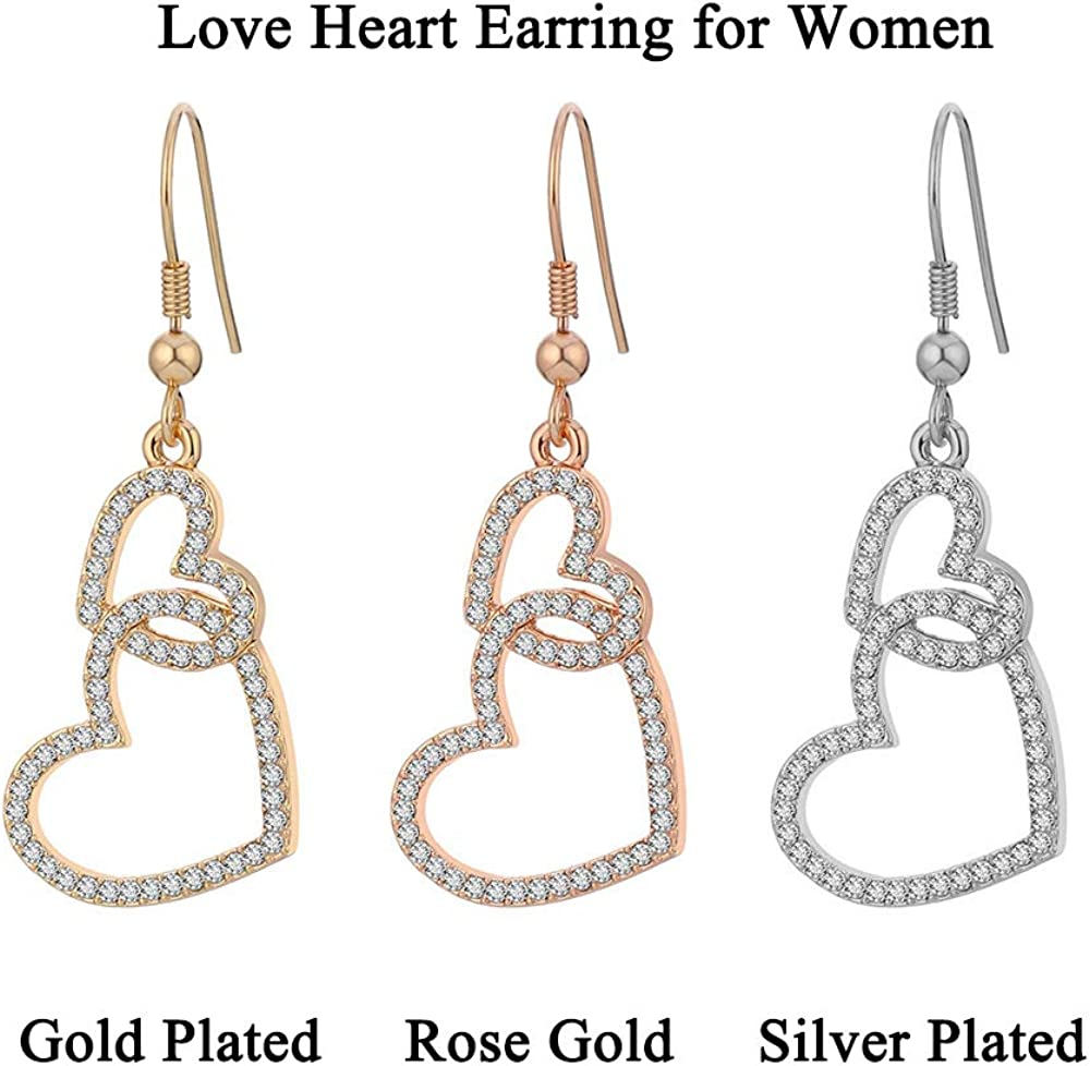 Gold Heart Earrings Dangly Frosted Gold Tone Metal Vintage Jewelry Love Valentine Gift