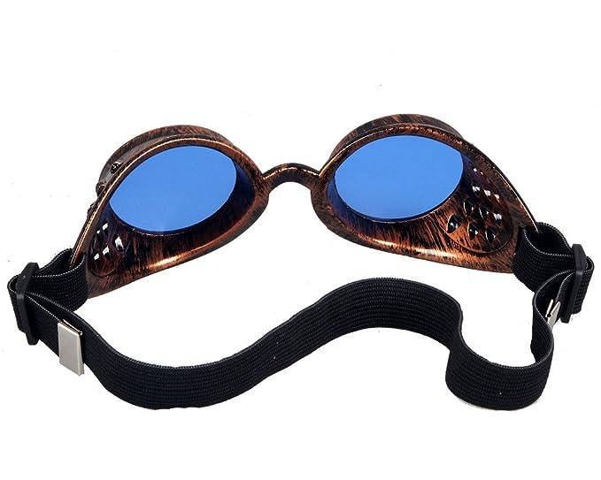 DODOING Weinlese-Art Steampunk Goggles Welding Punk Vintage Brille Cosplay mQmVnLXPe