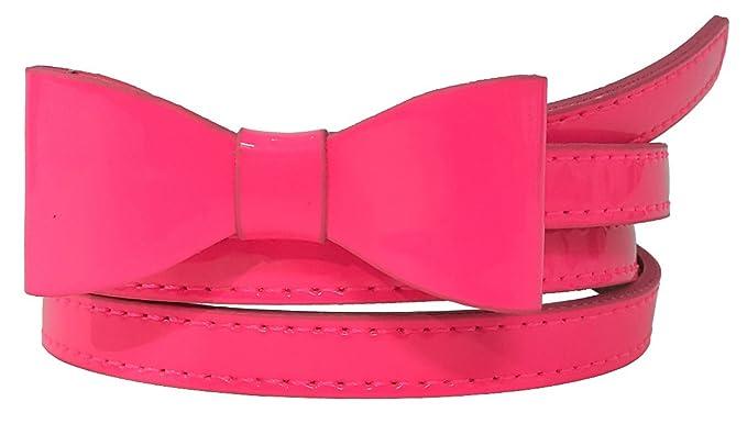 Vintage Retro Belts Faux Patent Leather Skinny Belt with Mini Bow Accent $9.99 AT vintagedancer.com