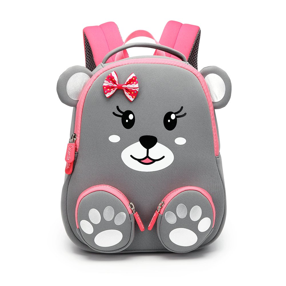 Cute Toddler Kids Backpack With Anti Lost Leash And Name Label Waterproof Lightweight 3D Animal Cartoon Mini Preschool Baby Bag For Girls Boys,Graybear,Onesize