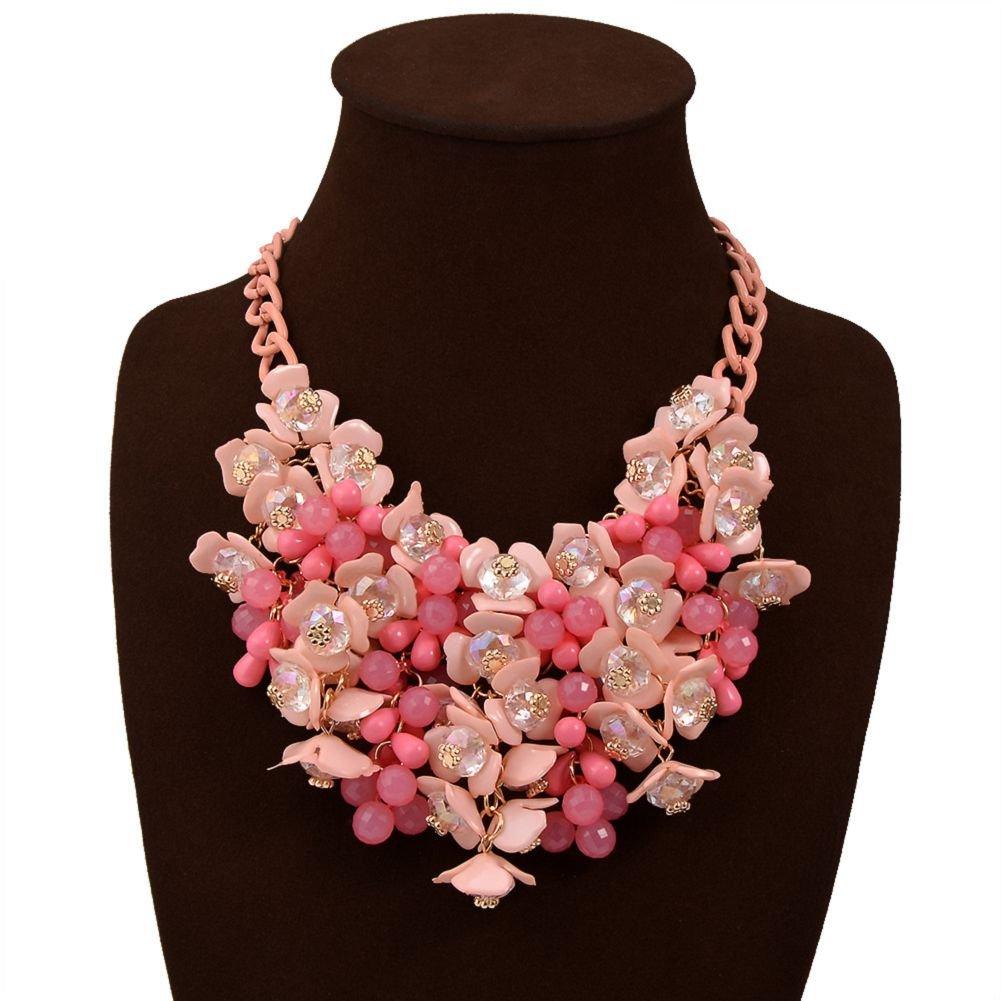 HoBST Women's Hot Pink Necklaces Pendants Transparent Big Resin Crystal Flower Choker Statement Necklace