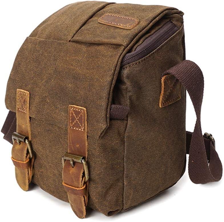 Color : Brown, Size : S ZZJJPP Vintage Waterproof Canvas Leather Trim DSLR SLR Shockproof Camera Shoulder Messenger Bag