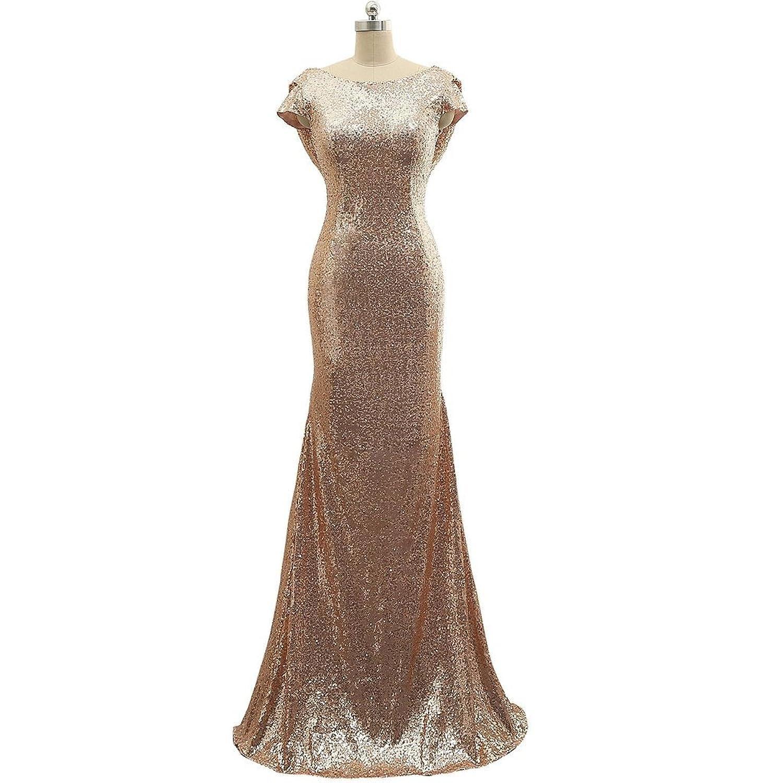 59eda871f1 elegante Vestido largo cóctel sirena lentejuelas para mujer sin manga  vestido elegante de dama de honor