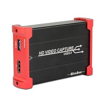 MiraBox Game Capture HDMI - USB 3.0 1080P 60FPS HD Dispositivo de transmisión para Playstation 4, Xbox One, Xbox 360 - Compatible con Windows Linux ...