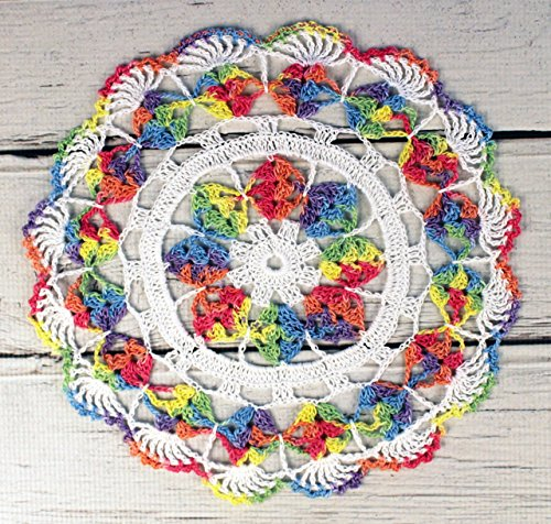 Crocheted White Rainbow Variegated Table Topper Doily - 10 (Violet Rainbow Thread)