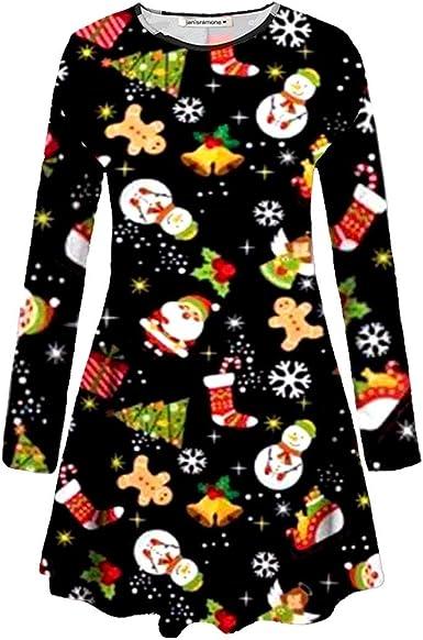 New Womens Girls Xmas Santa Penguin Elf Print Skater Flared Swing Mini Dress Top