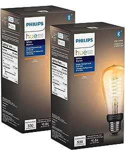 Philips Hue 551788 2 Filament Smart Light Bulb 2 Pack Amber Amazon Com