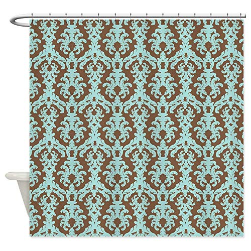 - Wlioohhgs Chocolate Brown and Turquoise Damask Shower Curtai Decorative Fabric Shower Curtain (69