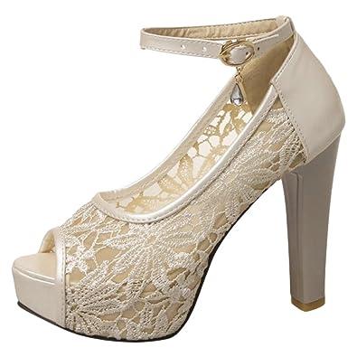 f60cbcedfbabe4 TAOFFEN Damen Party High Heel Sandalen Lace Plateau Hochzeitsschuhe Beige  Size 33 Asian