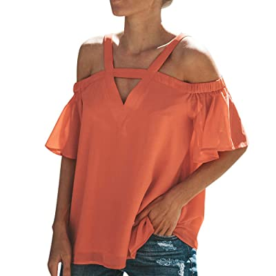 WUAI-Women Halter Neck Cold Shoulder Tops Ruffle Short Sleeve Spaghetti Strap Halter Tops Blouse at Women's Clothing store