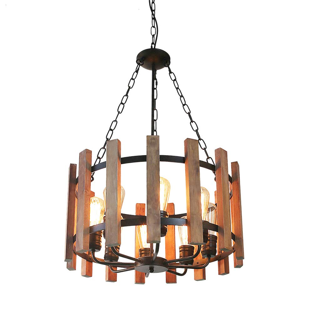 8 Lights Anmytek Wood Metal Chandelier Orb Pendant Light, Rustic Industrial Edison Hanging Light Dining Room Vintage Ceiling Light Fixture 8 Lights, Brown (C0049)