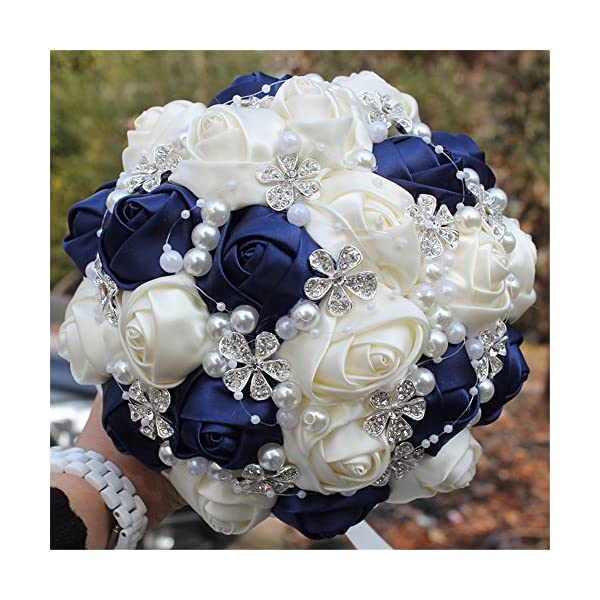 FYSTORE Advanced Customization Romantic Bride Wedding Holding Bouquet Roses with Diamond Pearl Ribbon Valentine's Day Bouquet Confession Many Colors for Choose 7 inch (Navy Blue+Ivory)