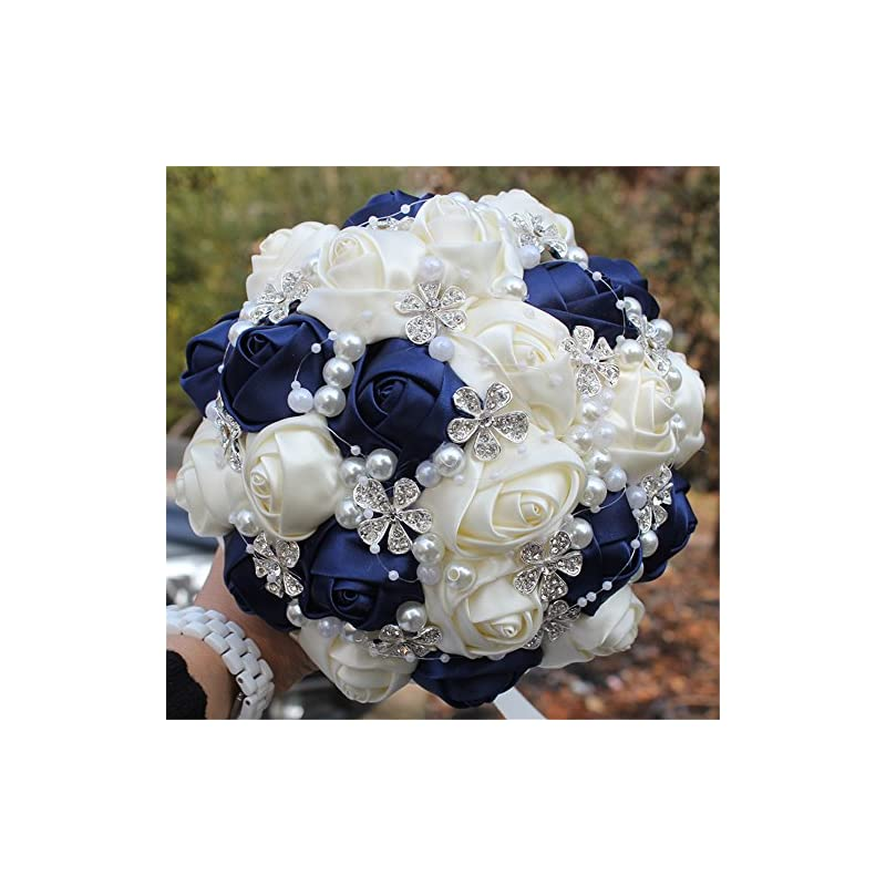 silk flower arrangements fystore advanced customization romantic bride wedding holding bouquet roses with diamond pearl ribbon valentine's day bouquet confession many colors for choose 7 inch (navy blue+ivory)