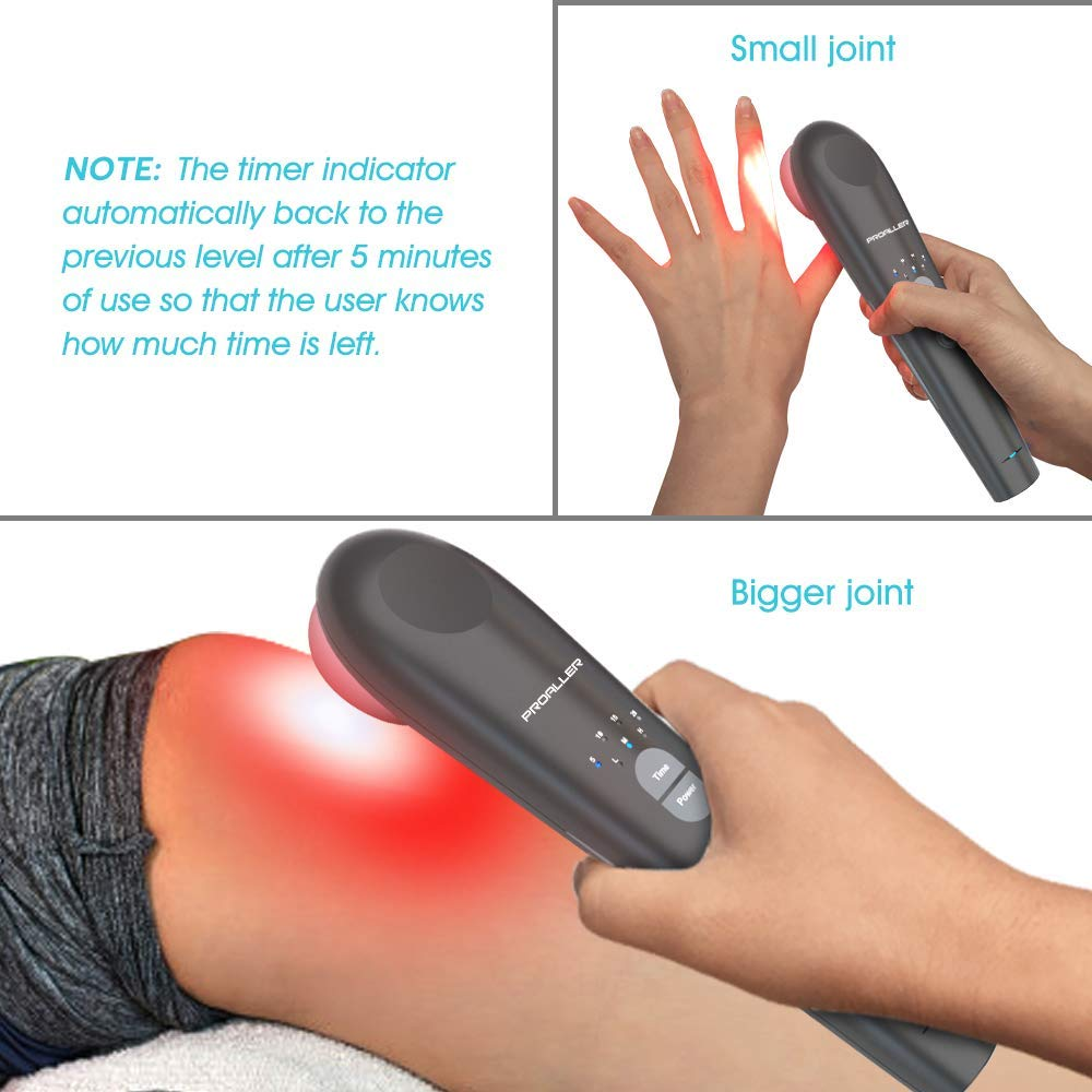 Red Light Therapy, Infrared Light Therapy Pain Relief Devices for Knee, Neck, Joint and Muscle, Arthritis, Handhold, Safe for Animal, 808nm + 650nm, 3 Power/4 Timer, Home Use, Black by PROALLER (Image #6)