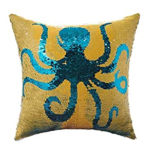 Homecy Reversible Sequins Pillow Cover Octopus Patten Mermaid Pillowcases Throw Cushion 16x16 Inch