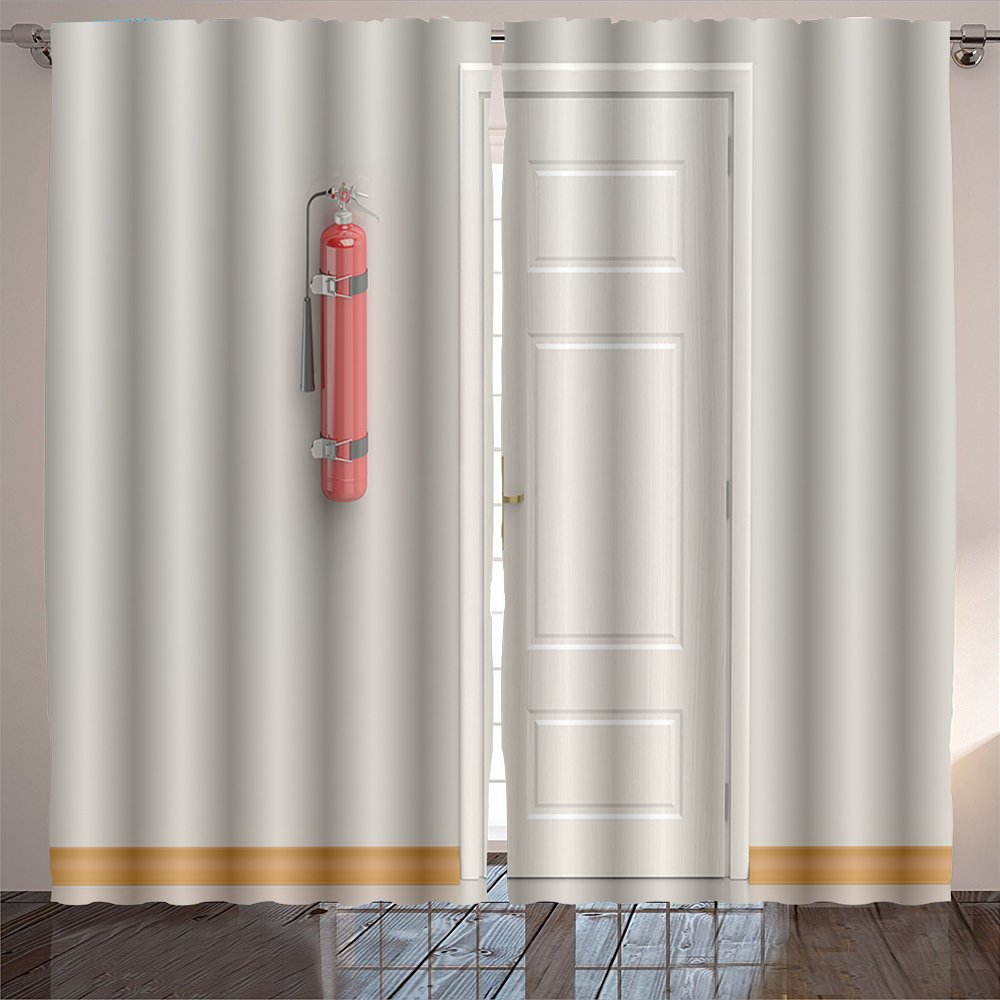 scocici1588 fire extinguisher on the wall Room Bedroom Curtains 2 Panels for Kids Room Window Treatments 84x54 INCH