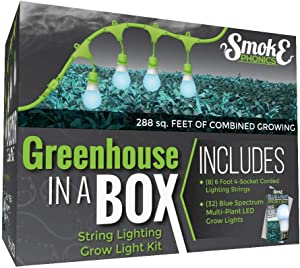 SmokePhonics Greenhouse in a Box Grow Kit for Indoor Plants - Includes 4 Blue Spectrum SmokePhonics Wide Beam Grow Light Bulbs & One 4-Socket Corded Light Fixture (8-Pack - 32 Bulbs, 8 Strings)