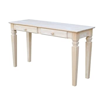 High Quality International Concepts OT 60S2 Java Sofa Table With 2 Drawers, Unfinished