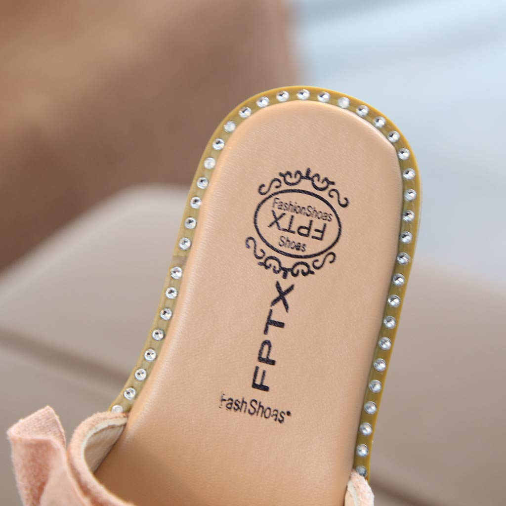 CLEEYYS Toddler Kids Baby Girls Pearls Crystal Ruffles Princess Shoes Sandals Slippers Pink
