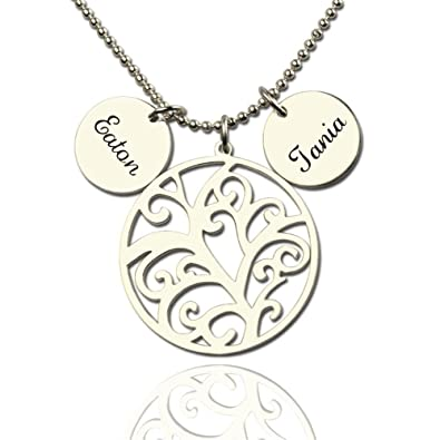 4820d827bbce Silver Filigree Family Tree Birthstone Pendant Necklace - Custom Made with  Any Name!(gold